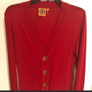 Tory Burch cardigan. Small. Red with gold buttons